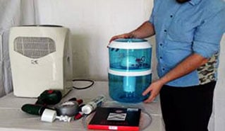 True distillation process vs. water collection procedure of a dehumidifier