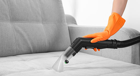 Use dampened sponges or rubber gloves for cleaning Upholstered furniture